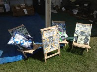 Samples of the new book cover beach chairs and cushions