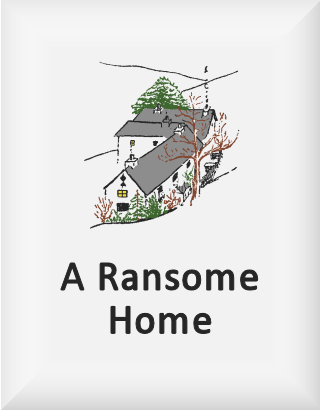 Ransome's drawing of a lake district farmhouse, our a ransome home logo