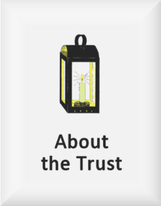Ransome's drawing of a candle lantern, our about the trust logo