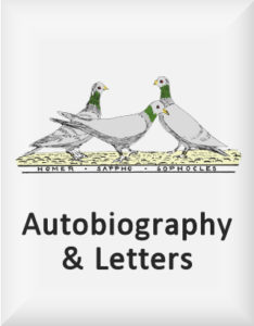 Ransome's drawing of three pigeons, our autobiography logo