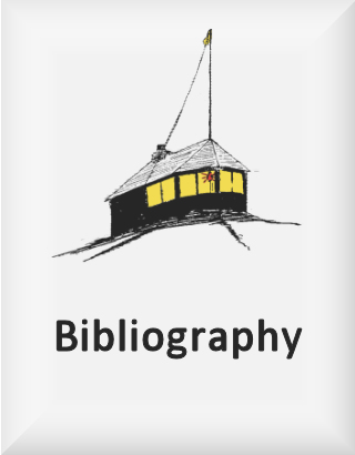 Ransome's drawing of a wooden hut in snow, our bibliography logo
