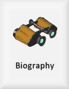 Ransome's drawing of binoculars, our biography logo
