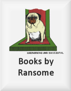 Ransome's drawing of a dog on weighing scales, our books by ransome logo