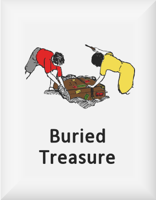 Ransome's drawing of two children digging up a box, our buried treasure logo