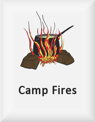 Ransome's drawing of a saucepan on a camp fire, our camp fires logo