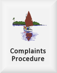 Ransome's drawing of a wooded island and sailing dinghy, our complaints procedure logo