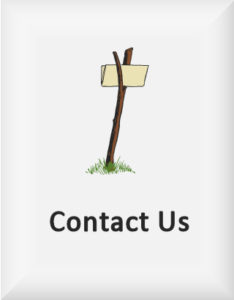 Ransome's drawing of a message folded in a cleft stick, our contact us logo