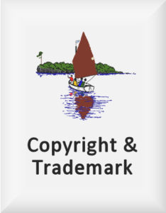 Ransome's drawing of an island and boat, our copyright and trademark logo