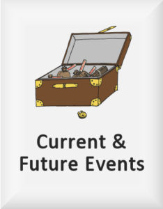 Ransome's drawing of an open treasure chest, our current and future events logo