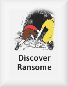 Ransome's drawing of two children discovering a cave, our discover ransome logo