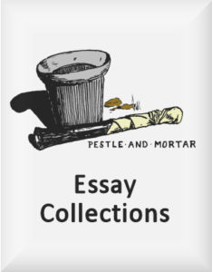 Ransome's drawing of a pestle and mortar, our essay collections logo