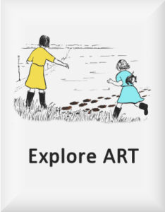 Ransome's drawing of two girls examining tracks in mud, our explore art logo