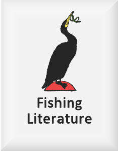 Ransome's drawing of a cormorant eating a fish, our fishing literature logo, used for Mainly About Fishing