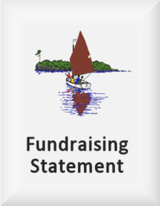 Ransome's drawing of swallow sailing towards an island, our fundraising statement logo