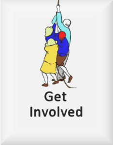 Ransome's drawing of four people hauling on a rope, our get involved logo