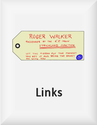 Ransome's drawing of a luggage label, our links logo