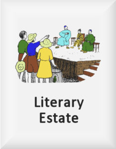 Ransome's drawing of children pleading with chinese adults, our literary estate logo