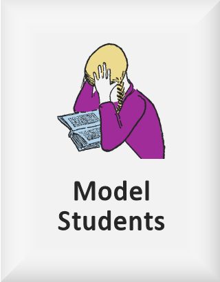 Ransome's drawing of a girl reading a book, our model students logo