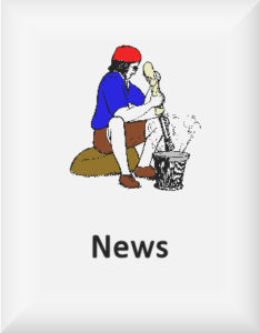 Ransome's drawing of a girl crushing rocks, from Pigeon Post, the sixth Swallows & Amazons novel, our news logo