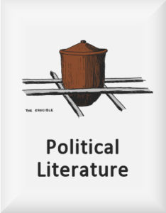 Ransome's drawing of a crucible held in iron bars, our political literature logo, used for On Behalf of Russia