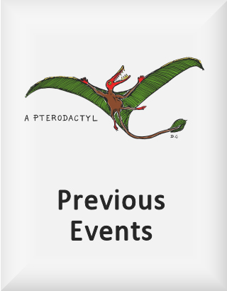 Ransome's drawing of a pterodactyl, our previous events logo