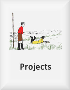 Ransome's drawing of two children surveying with a compass, our projects logo