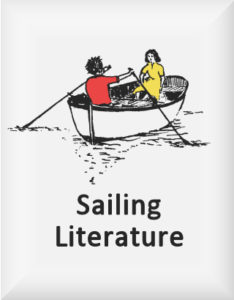 Ransome's drawing of two children in a boat, our sailing literature logo, used for Racundra's First Cruise