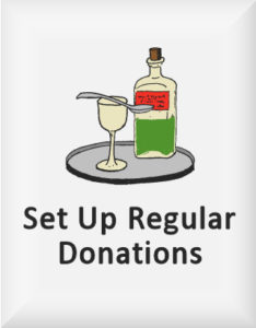 Ransome's drawing of a medicine bottle, our regular donations logo