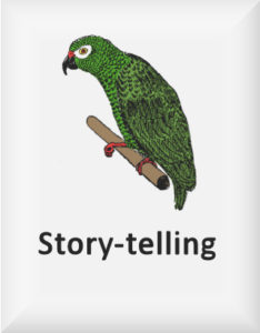 Ransome's drawing of a parrot, our Story-telling logo