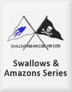 Ransome's drawing of two flags, used in Pigeon Post, our swallows and amazons series logo