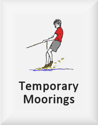 Ransome's drawing of a boy pulling a rope, our temporary moorings logo