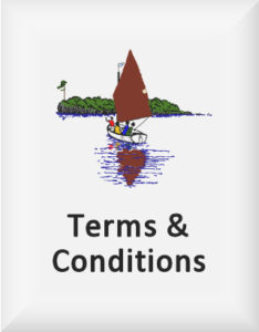 Ransome's drawing of a small boat sailing, our terms and conditions logo