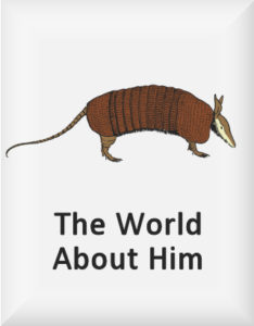 Ransome's drawing of an armadillo, our world about him logo