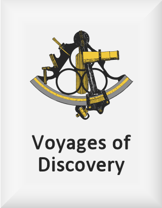 Ransome's drawing of a sextant, our voyages of discovery logo