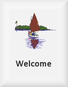Ransome's drawing of a sailing boat and island, from Swallows & Amazons, our welcome logo