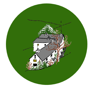 Arthur Ransome's drawing of Holly Howe farm, from Winter Holiday, coloured for use as ART's A Ransome Home project icon